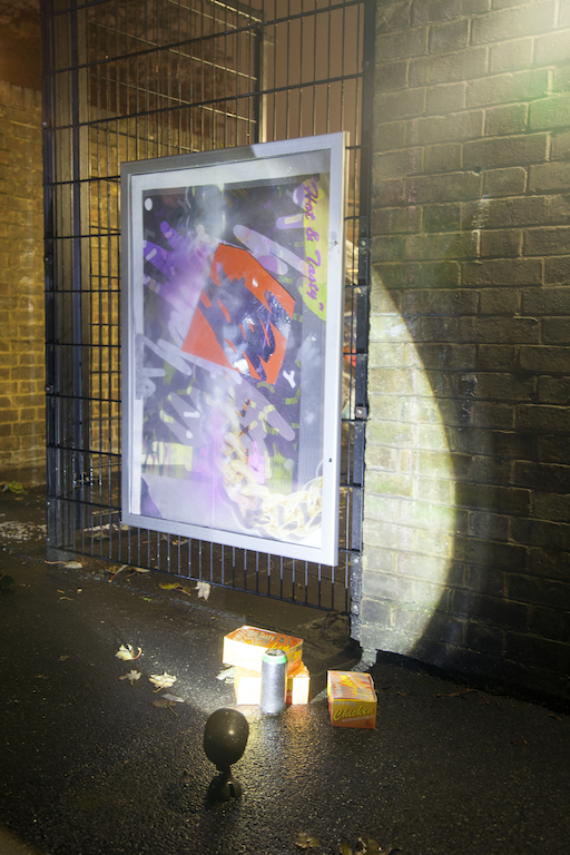 Digital print on polyester, acrylic paint, stray paint, vinyl, two way mirrored perspex, mdf, external notice board, 2014.