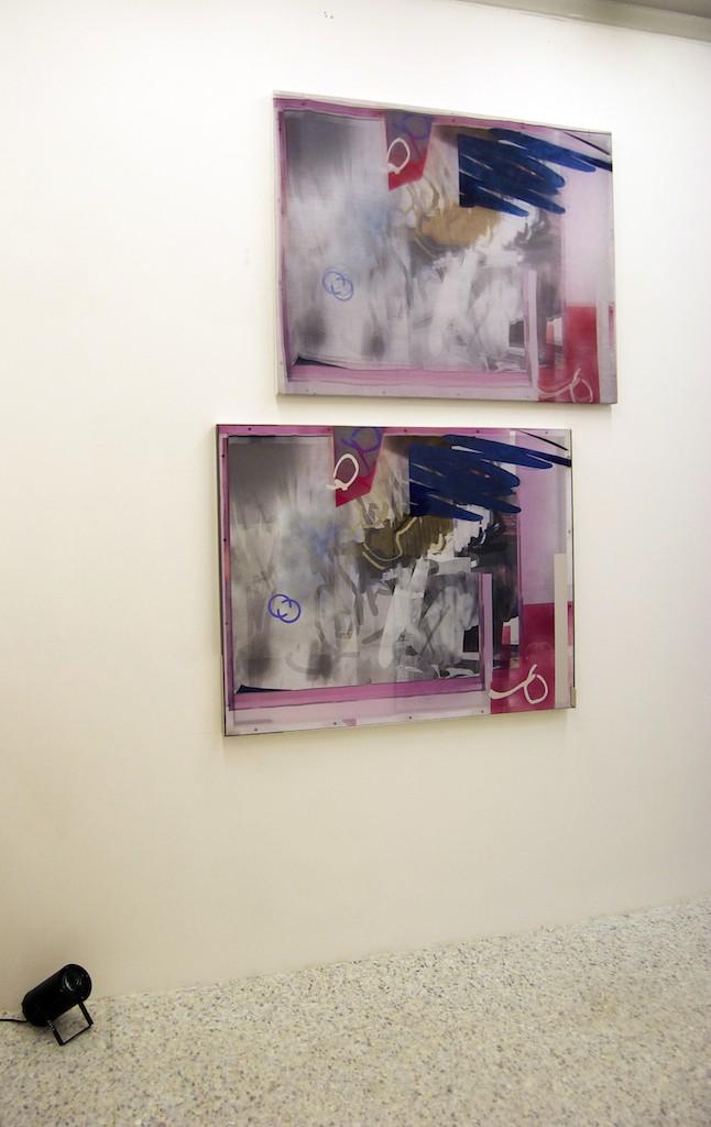 Digital print, screen print, acrylic paint and vinyl on polyester, aluminium, beech wood and acrylic frame, two way mirror on reverse &  digital print on polyester, aluminium, beech wood and acrylic frame, karaoke light, underlay flooring.